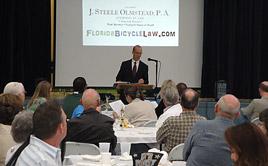 Mr. Olmstead speaking to Polk Bicycle Assn.