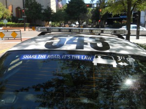 Share the Road decal on TPD cruiser